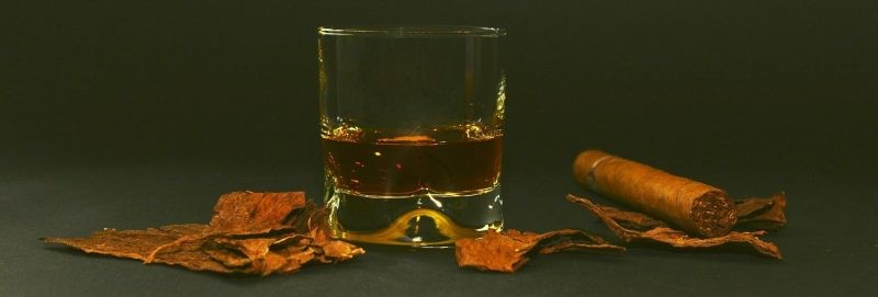 Peated whiskey with cigar