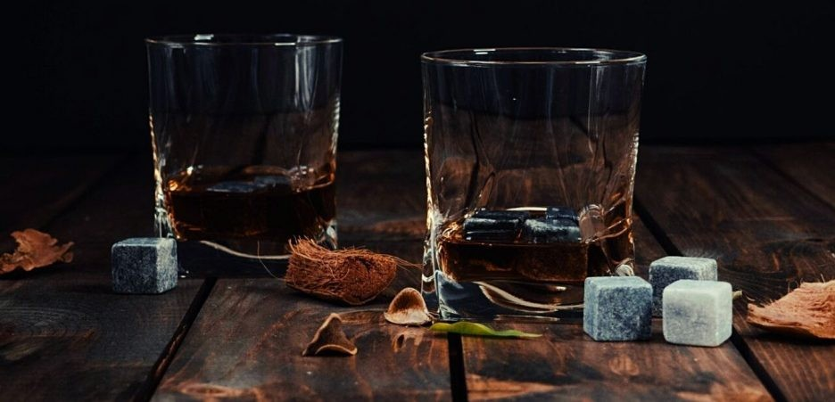 Whiskey stones on the table